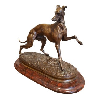 1800s Bronze Greyhound Dog Sculpture For Sale