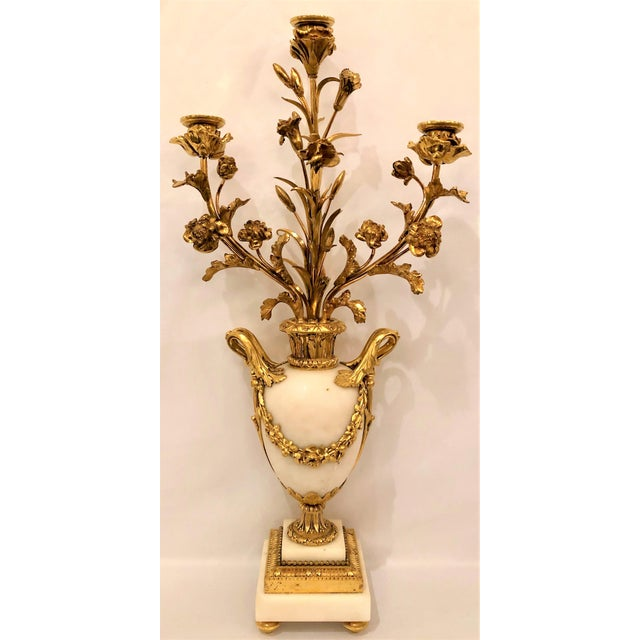 """Pair Antique French Bronze d'Ore Carrara Marble Candelabra, Circa 1880. Base is 4 1/2"""" Square"""
