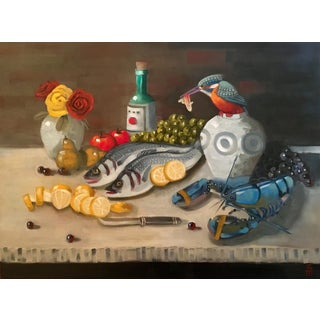 Stephen McDonough Contemporary Seafood Delifght Still Life Original Oil Painting For Sale