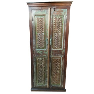 Antique Indian Armoire Rustic Wardrobe Large Cabinet Distressed Storage For Sale