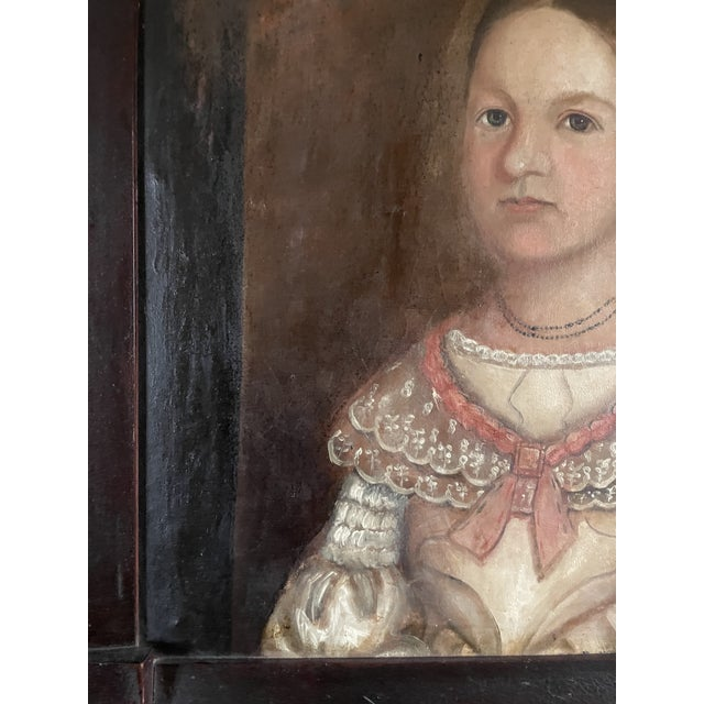 Antique White Early 19th Century American Folk Art Portrait Oil Painting of a Girl, Framed For Sale - Image 8 of 13