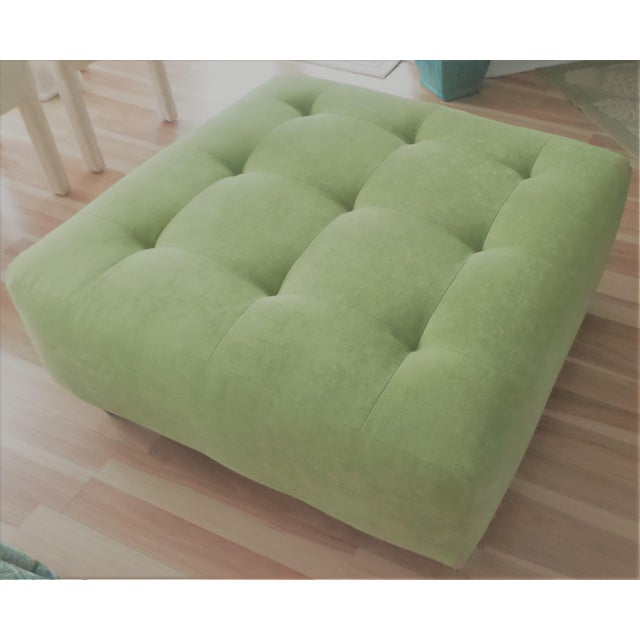 This luxurious, suede, apple-green tufted ottoman coffee table features a high-density foam cushion covered in a soft,...