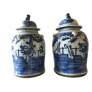 """Porcelain Lidded Blue & White Chinoiserie Ginger Jars - a Pair 18.5"""" H For Sale"""