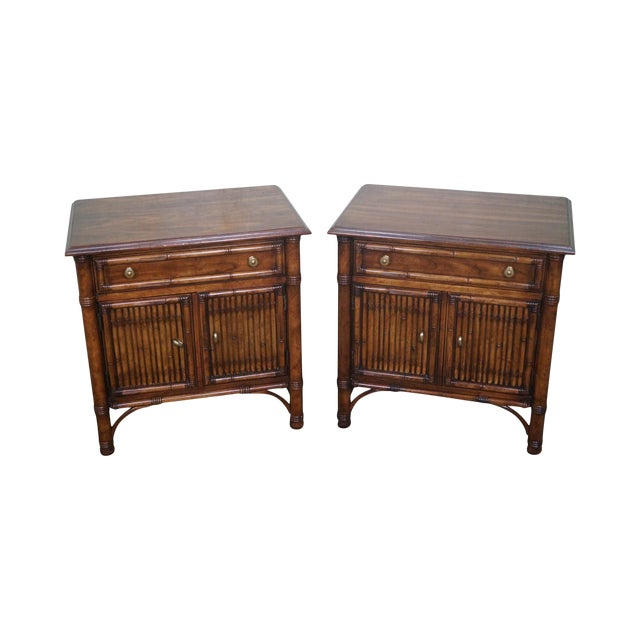 Drexel Heritage Faux Bamboo Nightstands - A Pair - Image 1 of 10