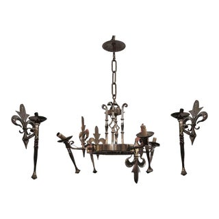French Torchere Fleur-De-Lis Chrome Chandelier & Sconces - Set of 3