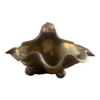 Mid-Century Brass Clam Shell Trinket Dish For Sale