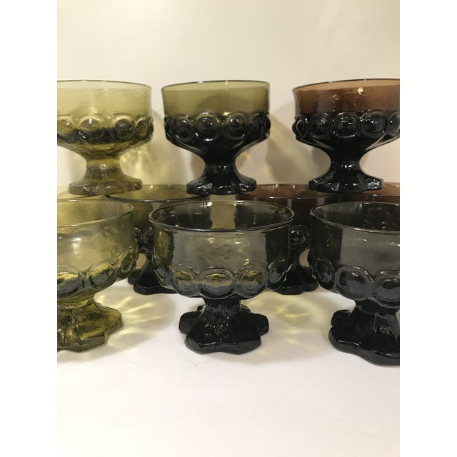 1960s Mid-Century Modern Tiffian Franciscan Madeira Multi Color Glass Dessert Cups - Set of 9 For Sale - Image 4 of 6