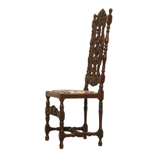 Antique French Hand Carved Needlepoint Seat Side Chair For Sale