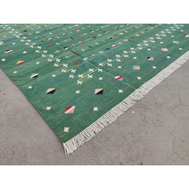Handmade Cotton Vegetable Dyed Green Shooting Star Rug For Sale - Image 6 of 11