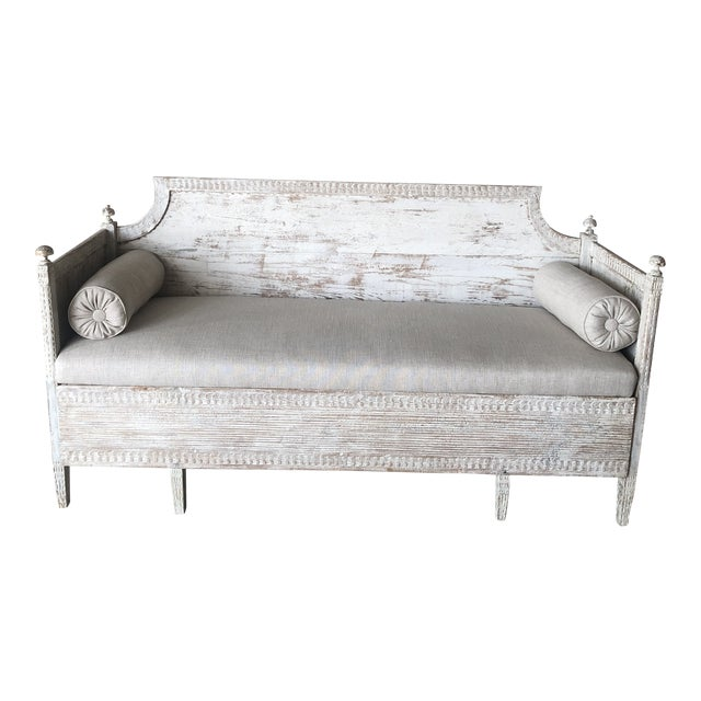 Vintage Gustavian Newly Upholstered Daybed For Sale