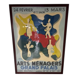 1930s Paul Colin Arts Menagers Grand Palais Poster, Framed For Sale