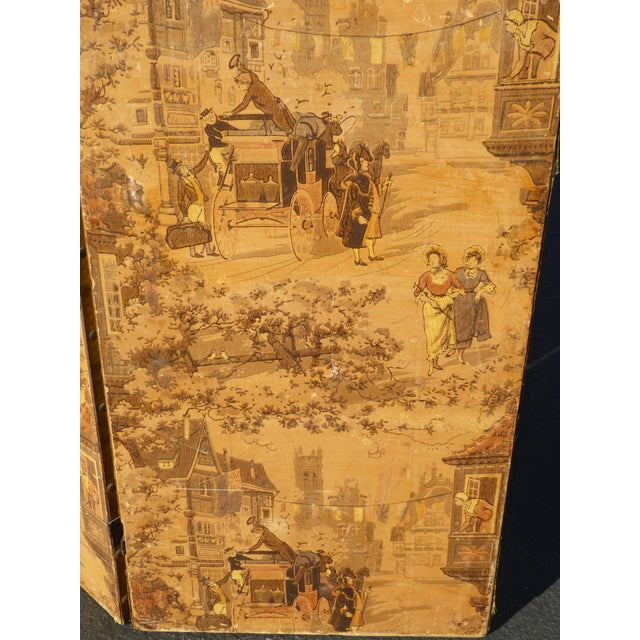 Vintage French Country Yellow 3 Panel Folding Screen - Image 7 of 11