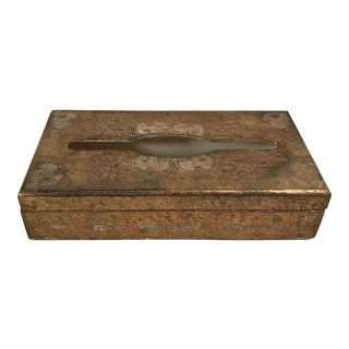 Gold Florentine Italian Wood Hinged Tissue Box