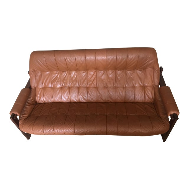1970s Mid-Century Percival Lafer Leather Sofa For Sale
