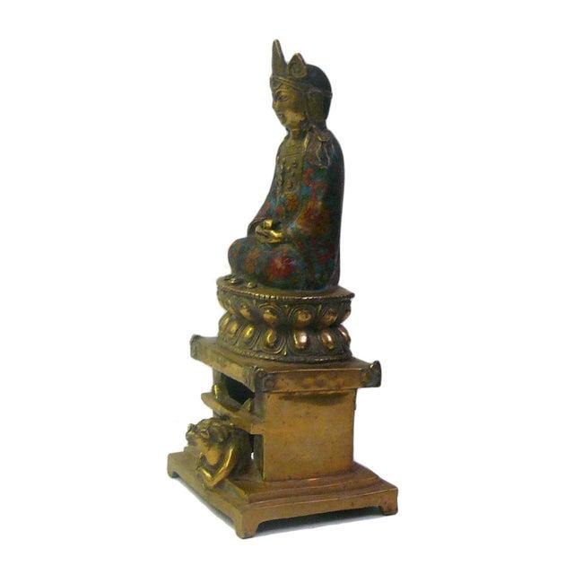 Asian Metal & Blue Enamel Cloisonne Buddha Statue For Sale - Image 3 of 8