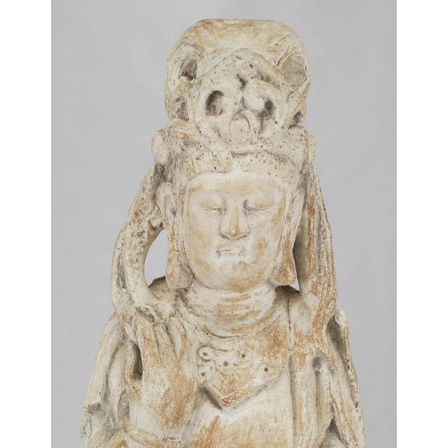 """Early 20th Century 36"""" Patinated Plaster & Gesso Standing Buddha Statue. For Sale - Image 5 of 8"""