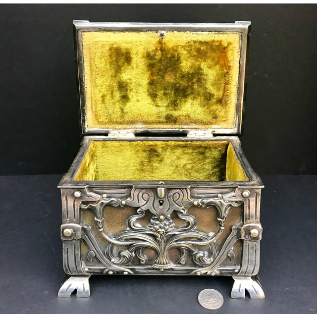 20th Century Art Nouveau Silvered Heavy Bronze Jewelry Box Casket For Sale - Image 4 of 13