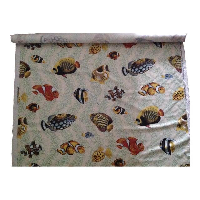 "Grey Watkins ""Barbuda"" Fish Linen Textile - 4 1/3 Yds. For Sale"