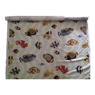 "Vintage C.1990s Grey Watkins ""Barbuda"" Fish Linen Textile - 4 1/3 Yds. For Sale"