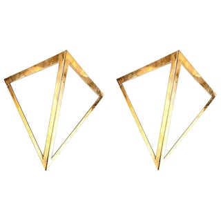 Pair of Triangular Wall Sconces From a 1970s Cruise Ship Stateroom For Sale