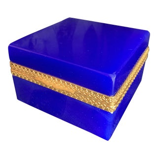 1920s Antique French Royal Blue Opaline Glass and Brass Hinged Box For Sale