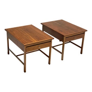 Vintage Mid Century Paul McCobb Walnut Side Tables - a Pair For Sale