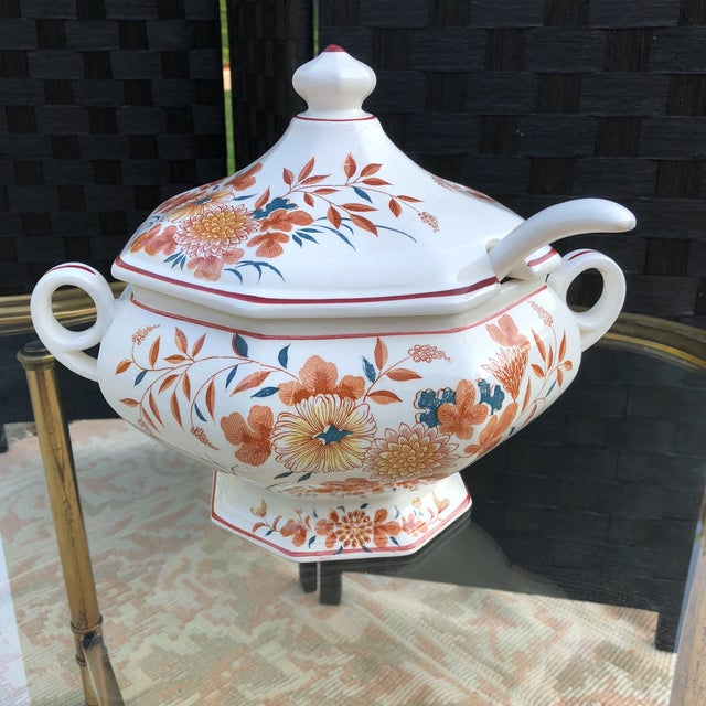 Asian Imari Orange and Teal Soup Tureen With Ladle - 3 Pieces For Sale - Image 3 of 13