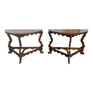 Early 19th Century Italian Inlaid Consoles - A Pair For Sale