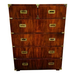 1970s Vintage Henredon Campaign Tall Dresser For Sale
