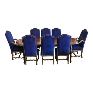Traditional Blue Microfiber Wooden Dining Set - 9 Piece Set