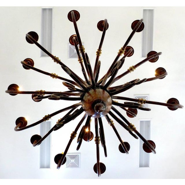 Large Early 1900s Handmade Copper and Brass Chandelier - Image 8 of 9