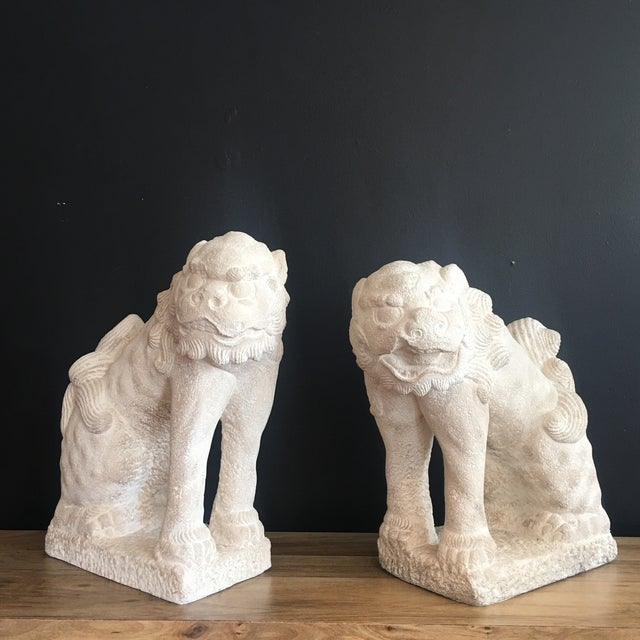 Large Heavy Plaster Male & Female Foo Dog Statues For Sale - Image 10 of 10