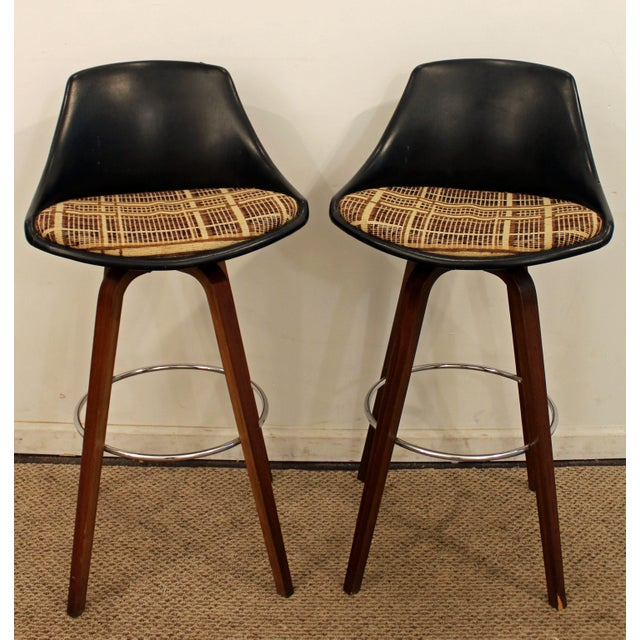 Mid-Century Chrome & Walnut Swivel Bar Stools - A Pair - Image 5 of 11