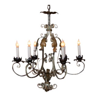 1900s Country French Six Light Iron Chandelier With Original Paint For Sale
