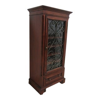 1990s Ethan Allen Tuscany Wine Cabinet Display For Sale