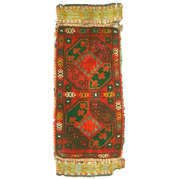 "Old Uzbek Small Pile Rug Napramash #7 - 17""x 42"" - Image 1 of 4"