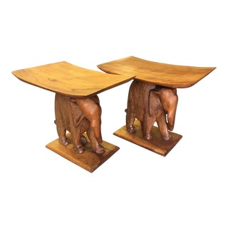 Teak Elephant Stools - A Pair For Sale