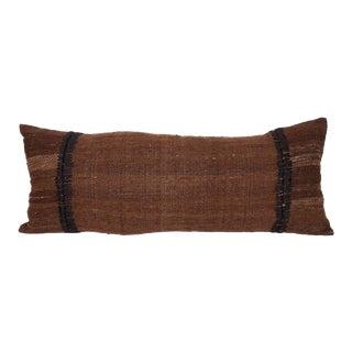 Vintage Anatolian Textile Pillow W/ Silk Stitching For Sale