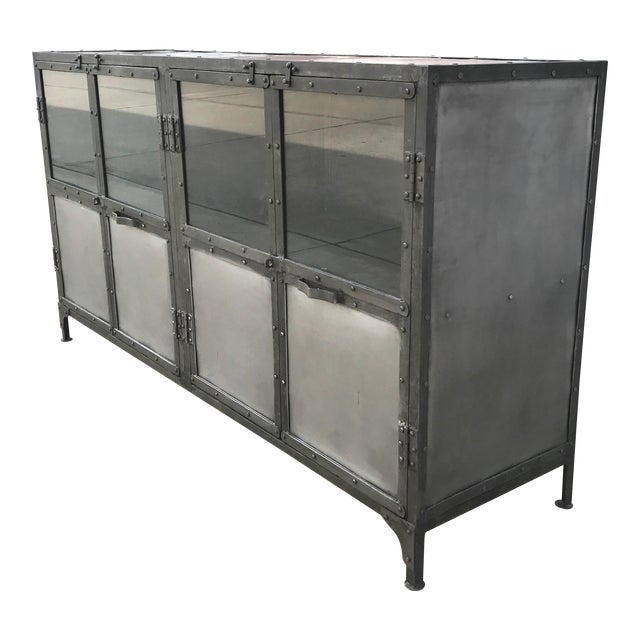 Industrial Antiqued Metal Cabinet - Image 1 of 10