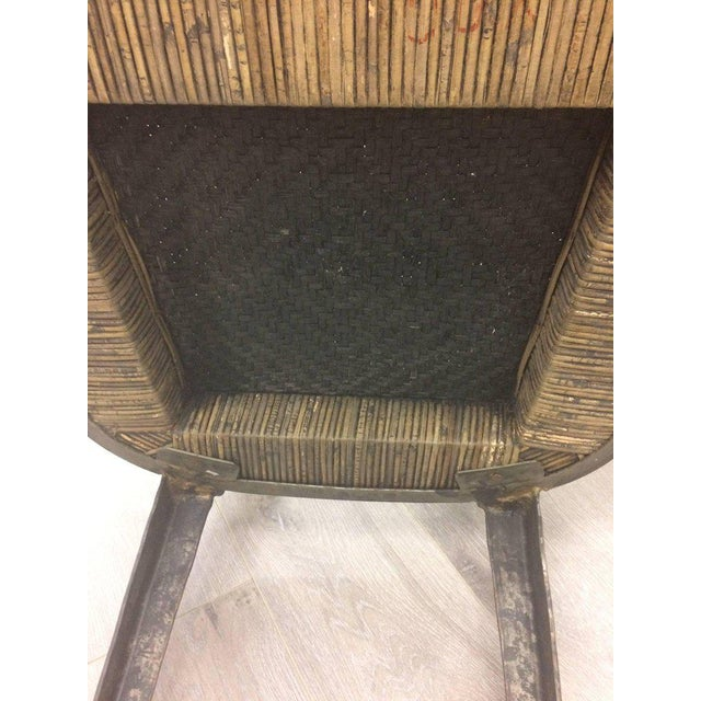 Black Hand-Forged Iron & Rattan Armchairs - a Pair For Sale - Image 8 of 13