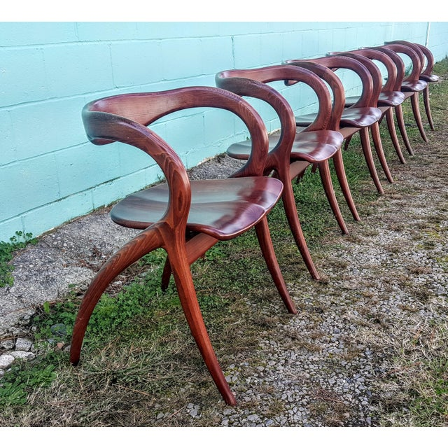 Vintage Solid Curved Cherry Wood Dining Chairs - Set of 6 For Sale - Image 9 of 9
