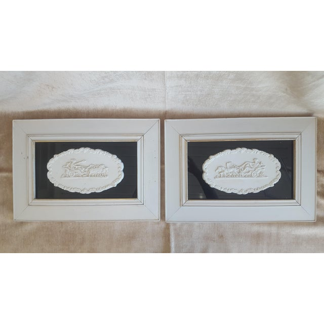 Glass Vintage Neoclassical Framed Intaglios - a Pair For Sale - Image 7 of 13