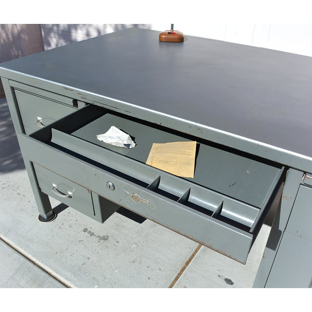 1930s 1930's Mid Century Modern Steel Tanker Desk For Sale - Image 5 of 13
