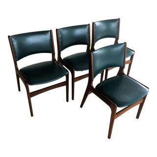 Mid-Century Modern Four Danish Erik Buch Refinished Dining Chairs - Set of 4 For Sale