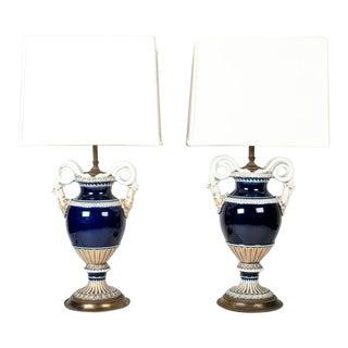 Mid 19th Century Antique Meissen Cobalt Blue Porcelain Lamps - a Pair For Sale