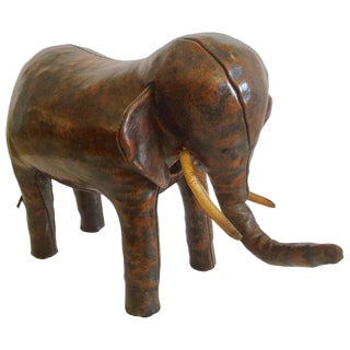 1970s Abercrombie and Fitch Leather Elephant Footstool For Sale
