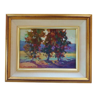Original Painting Fall Trees by Frances Byers 1957 For Sale