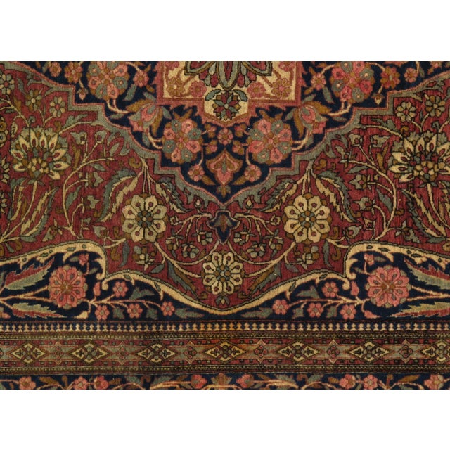 Late 19th Century Late 19th Century Antique Persian Mohtasham Kashan Rug - 4′6″ × 6′6″ For Sale - Image 5 of 6