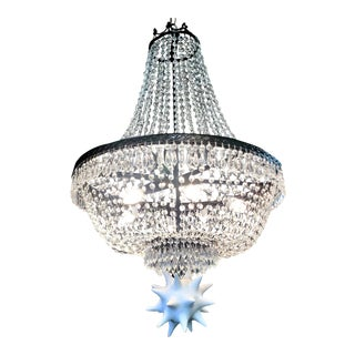Vintage Crystal Empire Chandelier With a Modern Twist For Sale