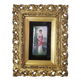 19th Century Kpm Berlin Painted Porcelain Plaque With Giltwood Frame For Sale